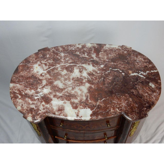 19th C. Italian Marquetry Marble Top Inlaid Table For Sale - Image 4 of 11