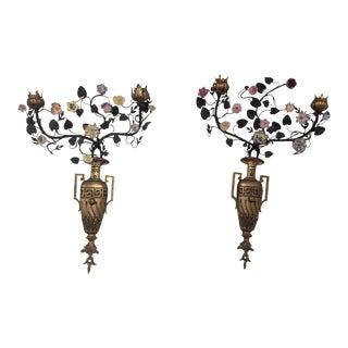 Antique Floral Porcelain & Bronze Urn Sconces- A Pair