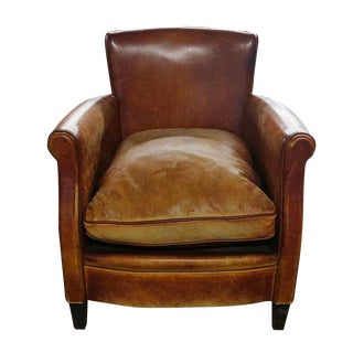 Child's Distressed Leather Armchair For Sale