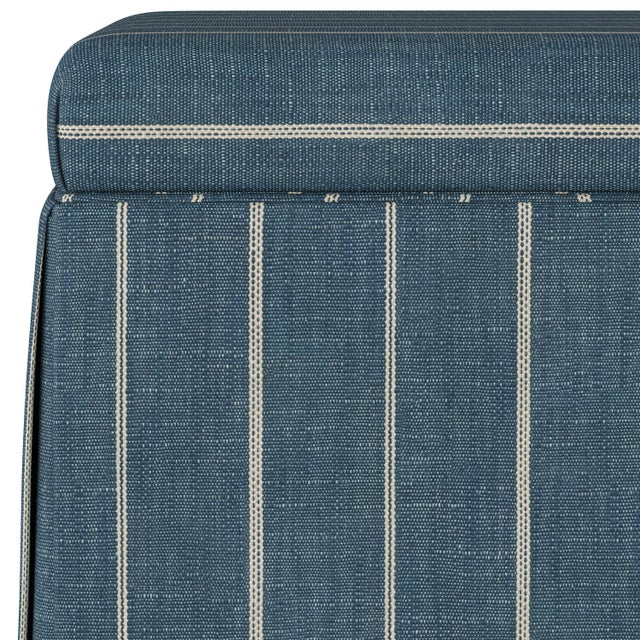 Contemporary Fritz Indigo Skirted Storage Ottoman For Sale - Image 3 of 7
