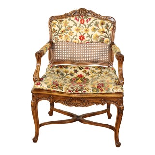 Single French Louis XV Cane Walnut Carved Boudoir or Corner Chair, Circa 1940 For Sale