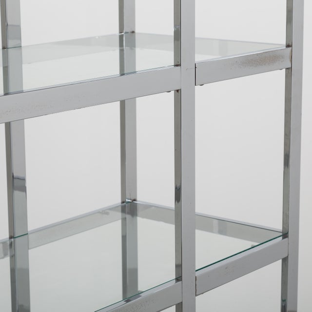 A Single Chromium Steel Framed Etagere USA 1970s For Sale - Image 6 of 6