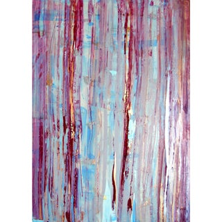 """Gudrun Mertes Frady """"Meandering"""" Abstract Colorful Painting on Panel For Sale"""