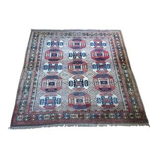 Kazak Style Afghan Carpet - 6′5″ × 7′ For Sale