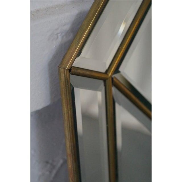 Brass Frame Harlequin Pattern Beveled Glass Mirror - Image 6 of 10
