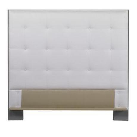 The Marin Wood Trim Upholstered Headboard is a first quality market sample that features a White Fabric with a Shadow Grey...