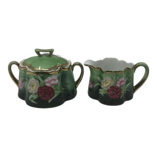 Antique Bavarian Royal Vienna Cream and Sugar Set - Set of 2 For Sale