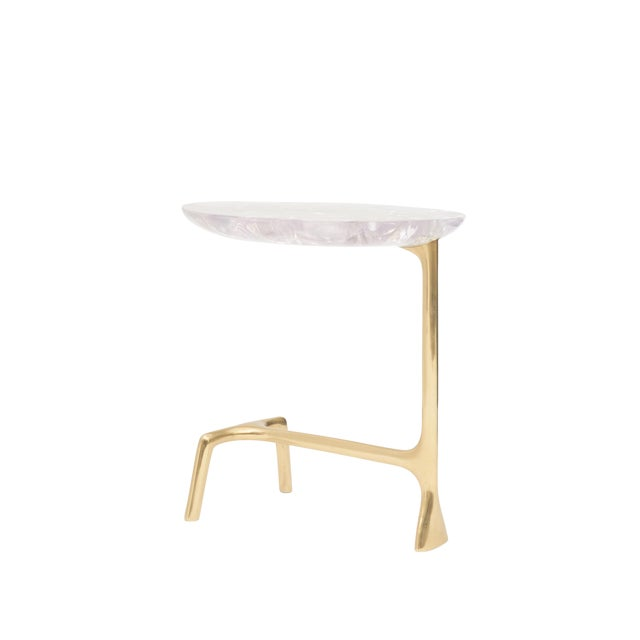 Uovo Side Table (Ice-Cracked Resin) by Sylvan San Francisco For Sale