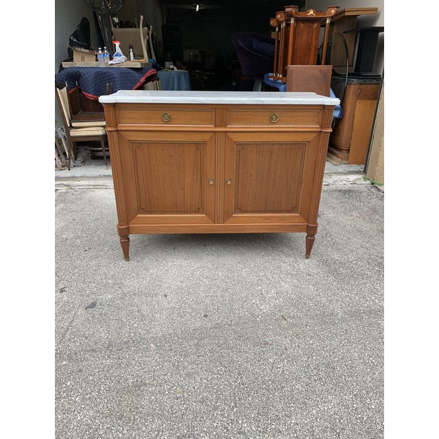 French 1910s French Louis XVI Antique Mahogany Sideboard For Sale - Image 3 of 13