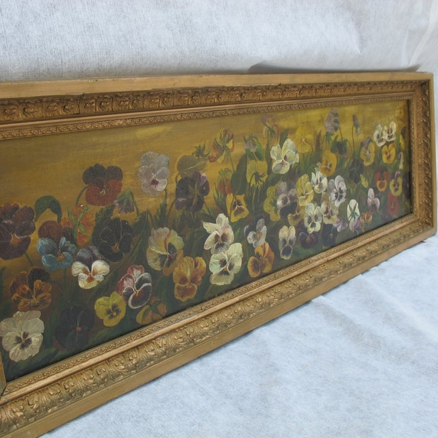 Framed Pansies Oil Painting - Image 3 of 10