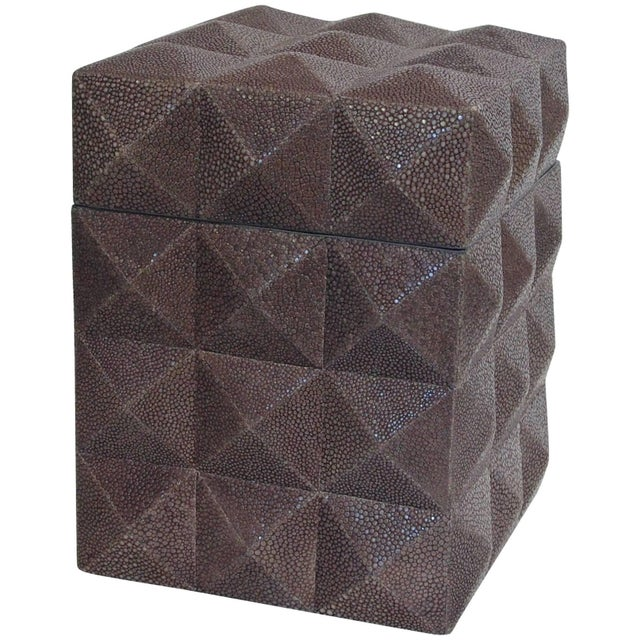 Italian gray Shagreen box with four sided pyramid pattern designed by Fabio Bergomi / Made in Italy Measures: Depth 6...