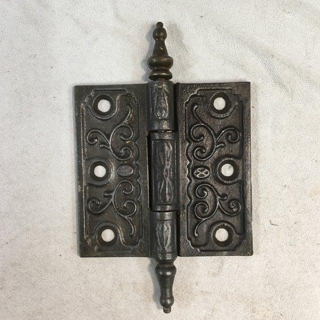 Metal Antique Victorian Eastlake Steeple Tip Door Hinges - Set of 7 For Sale - Image 7 of 11