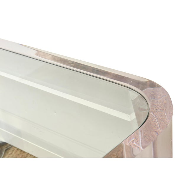 """Vintage Les Prismatiques Lucite and Glass Rectangular """"Luna"""" Cocktail Table For Sale In Miami - Image 6 of 10"""