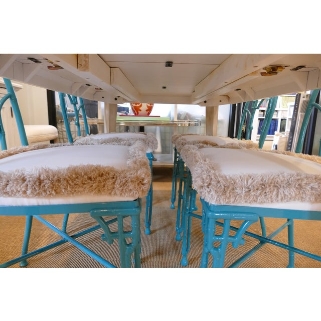 Modern Teal Wrought Iron Outdoor Chair For Sale - Image 12 of 13