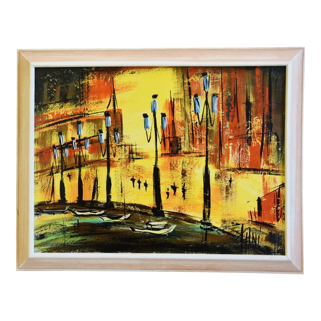 Hollywood Midcentury European Cityscape Oil Painting For Sale