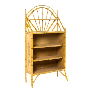 19th Century English Bamboo Bookshelf With Lovely Painted Finish For Sale