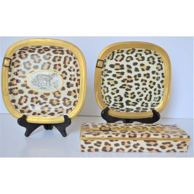 Metal 1970s Vintage Italian Mottahedeh Leopard Ceramic Set - 3 Pieces For Sale - Image 7 of 10
