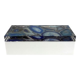 Lucite / Plastic Box With Digitally Printed Agate Image For Sale