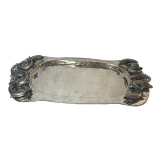 Vintage Mid Century Silver Plated Tray For Sale