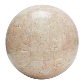 Large Tessellated Peach Stone Sphere - 10.5 In. Diameter For Sale