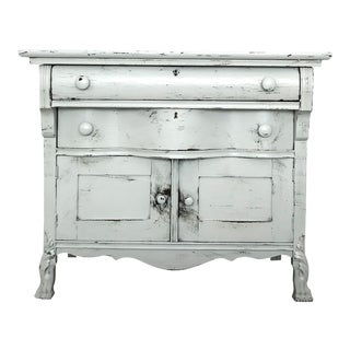 Antique White Clawfoot Nightstand For Sale