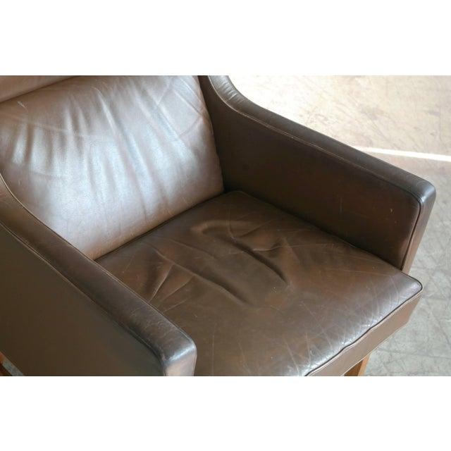 Soren Willadsen Mobelfabrik Midcentury Kai Lyngfeldt Larsen Style High Back Lounge Chair in Brown Leather For Sale - Image 4 of 9