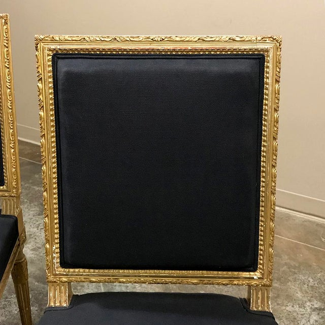 Charcoal 19th Century French Louis XVI Giltwood Chairs - a Pair For Sale - Image 8 of 13