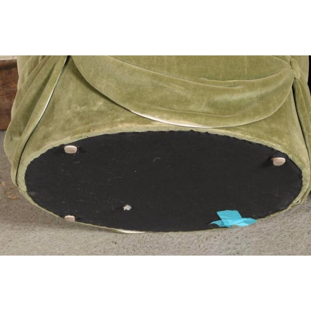 Gorgeous pair of shell form angle tufted backs with oval seats and swags of fabric on the bases. In a soft sage green...