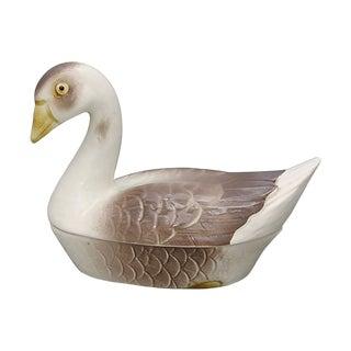 Vintage French Majolica Goose Pâté Tureen For Sale