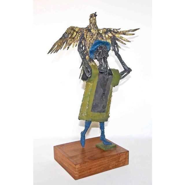 Abstract Expressionism 1960s Abstract Bob Fowler Metal Art Work Sculpture of Man Holding Eagle For Sale - Image 3 of 11