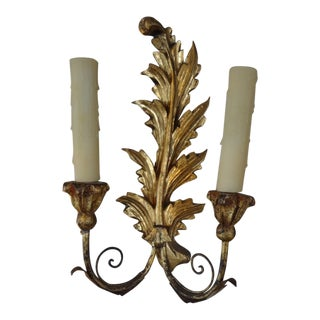 19th Century Antique French Gilt Wood Sconces, Pair