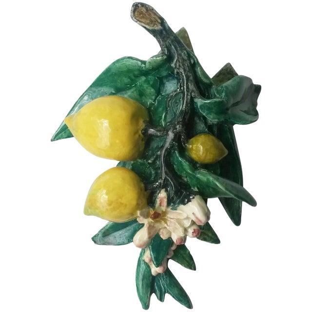 1890s Rare Majolica Delphin Massier Lemons Applique For Sale