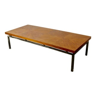 Vintage Mid-Century Modern Patchwork Veneer and Chrome Coffee Table For Sale