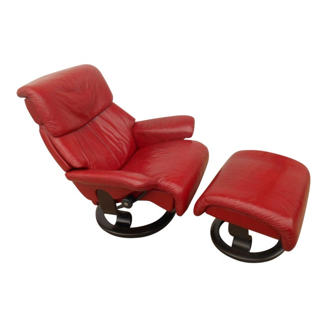 Ekornes Stressless Dream Red Leather Chair With Ottoman For Sale