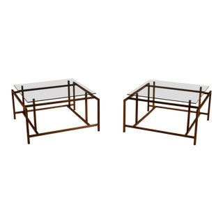 Mid-Century Modern Henning Norgaard Rosewood and Glass Side Tables - a Pair