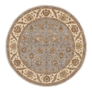 Hand Knotted Indo-Tabriz Cream Wool Round Rug - 8' X 8' For Sale
