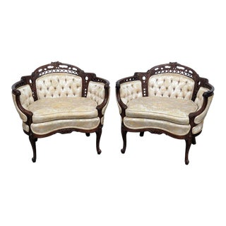 Late 20th Century Vintage Louis XV Style Chairs- A Pair For Sale