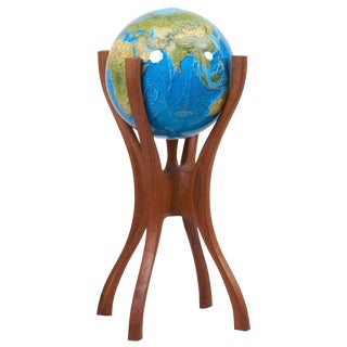 American Studio Globe Stand With Globe by Woodworker Bud Tullis in 1981, Signed For Sale