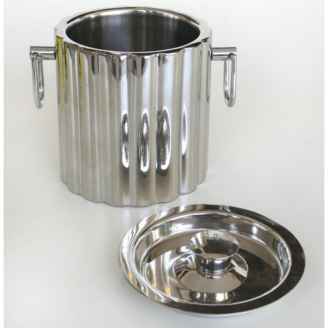Art Deco Vintage Stainless Steel Art Deco Style Ice Bucket For Sale - Image 3 of 7