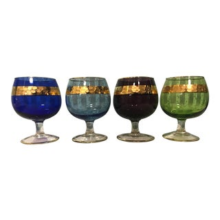 Vintage Echt Bleikristall Bohemian Multi-Color Cordial Glasses - Set of 4 For Sale
