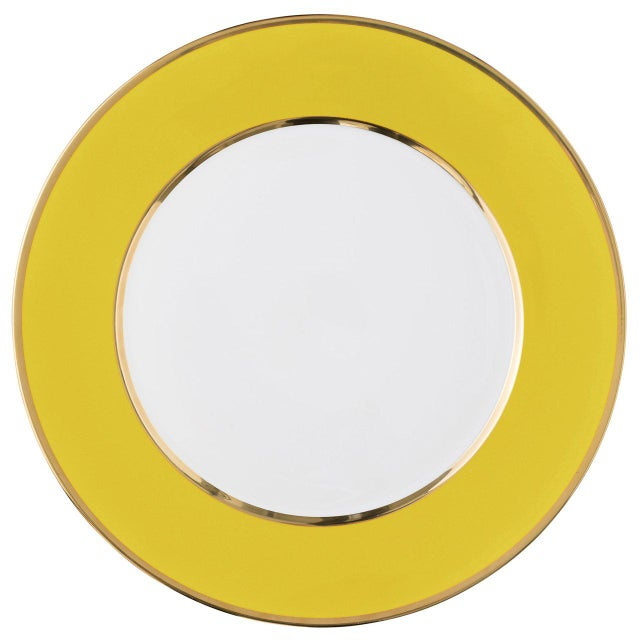 """Schubert"" Charger in Yellow & Narrow Gold Rim For Sale - Image 12 of 12"