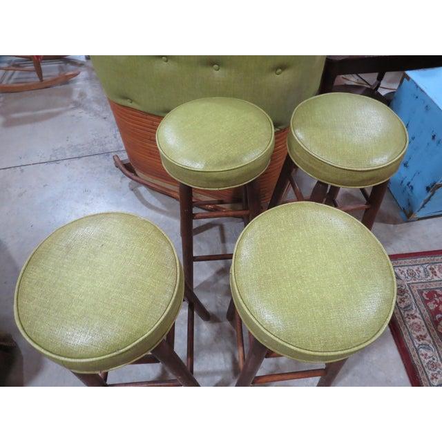 Boho Chic Vintage Rattan and Avocado Green Tiki Bar & 4 Bar Stools For Sale - Image 3 of 13