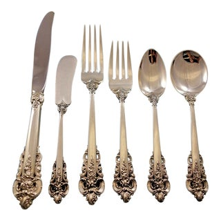 Grande Baroque by Wallace Sterling Silver Flatware Set for 48 Service - 303 Pcs For Sale