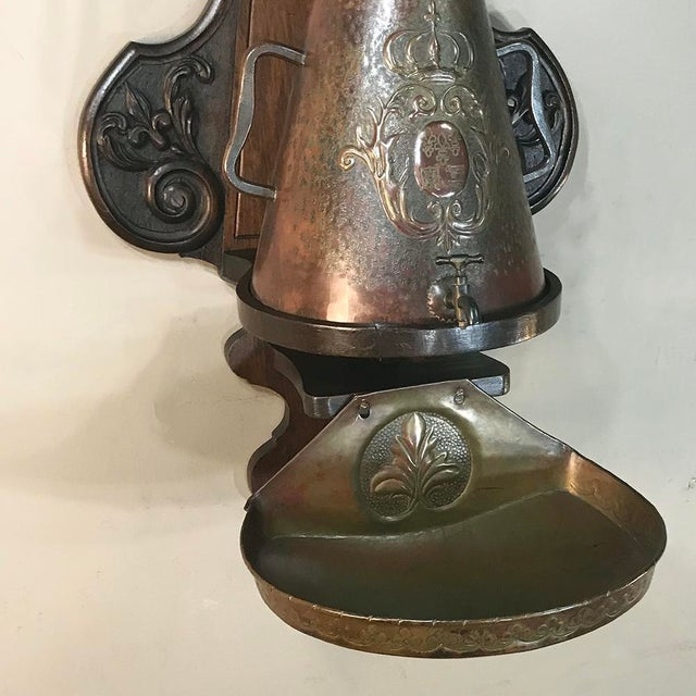 19th Century French Fleur De Lys Embossed Copper Wall Fountain on Original Wood Plaque For Sale - Image 4 of 12