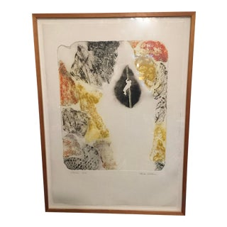 Mid Century Modern Large Work of Art Signed Framed For Sale