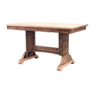 American Mission Natural Wicker Table Desk For Sale