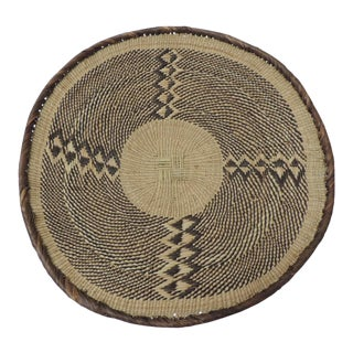 Vintage Woven Seagrass Ethnic Round African Artisanal Flat Basket For Sale