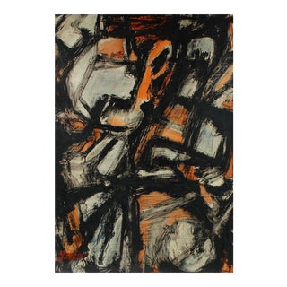 Dark Abstract Expressionist Painting, Circa 1940s For Sale