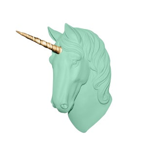 "Wall Charmers ""The Luna"" Faux Mint Green + Gold Horn Magical Unicorn Head Wall Hanging For Sale"