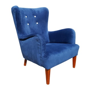 Mid Century A.J. Iversen Danish 1940's Wingback Chair For Sale